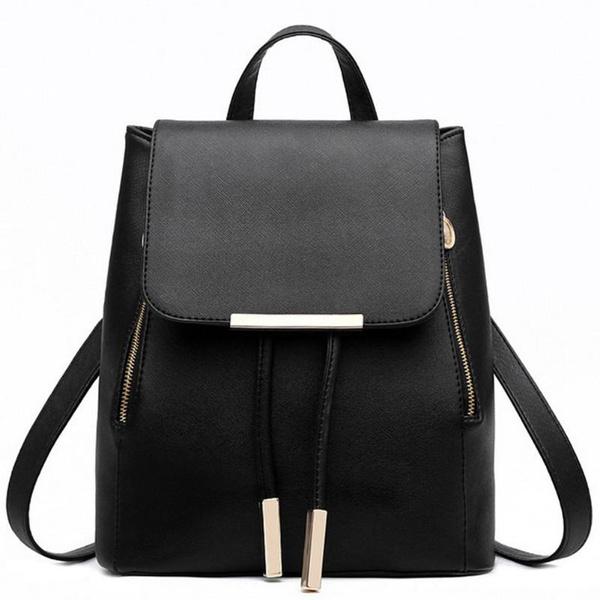Picture of Fashion Pu Leather Backpack School Bag Student Backpack Women Travel Bag Black Uk Stock Color Black