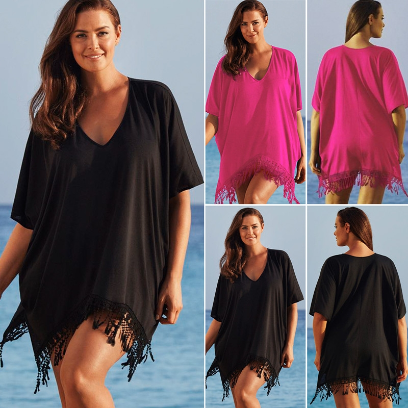 Picture of Women Sexy Plus Size Tassel Bikini Cover Up Fringe Beach Dress Bathing Suit Holiday Beach Wear