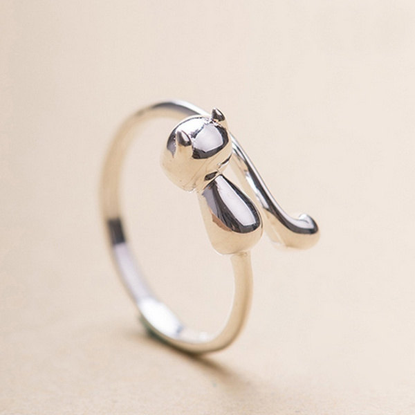 Silver Plated Cat Rings Beautiful Finger Open Rings For Party Birthday Gift
