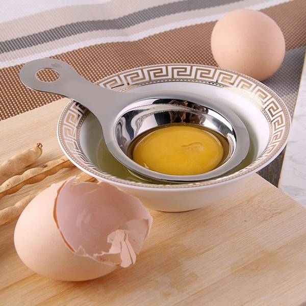 Kitchen Material Stainless Steel Egg Yolk Separator Used To Make Cake (Color: Silver)