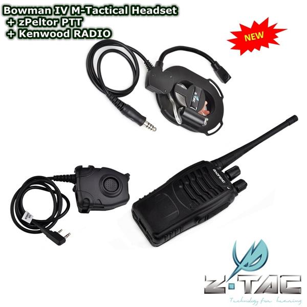 SET SALE Bowman IV M-Tactical Headset + zPeltor PTT + Kenwood RADIO
