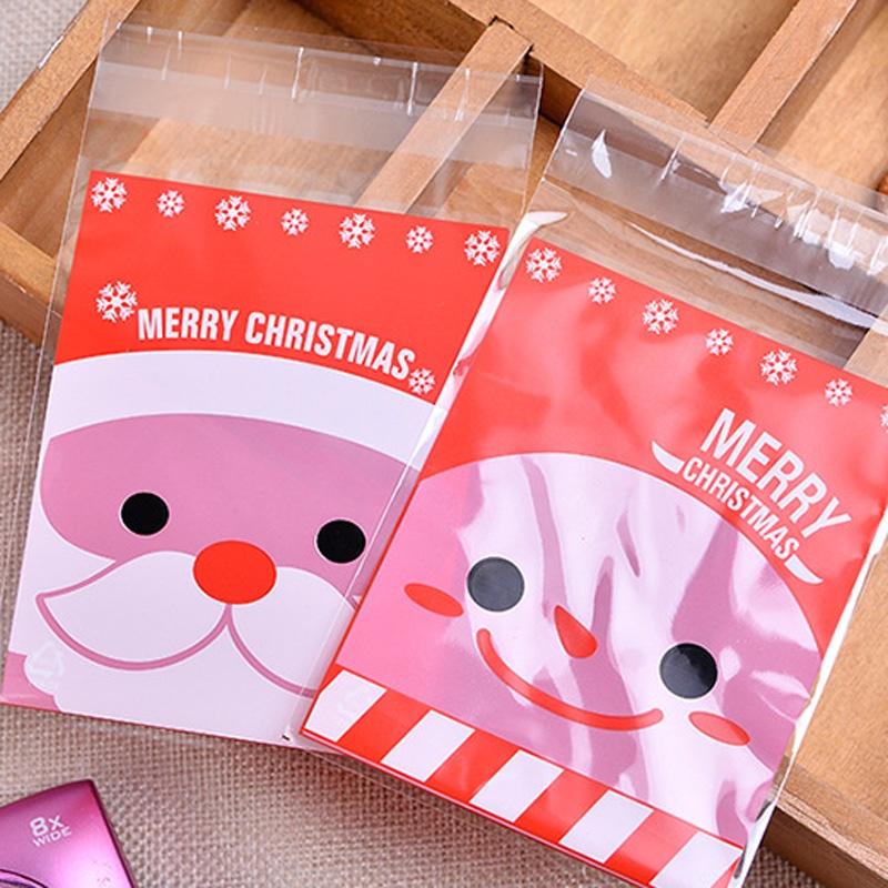 100PCS Self Adhesive Christmas Santa Claus Party Treat Cookies Candy Gift Bags