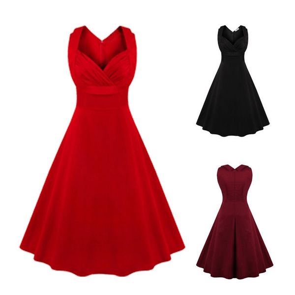 Housewife Vintage Retro 50s 60s Swing Evening Party Pinup Dress PLUS SIZE
