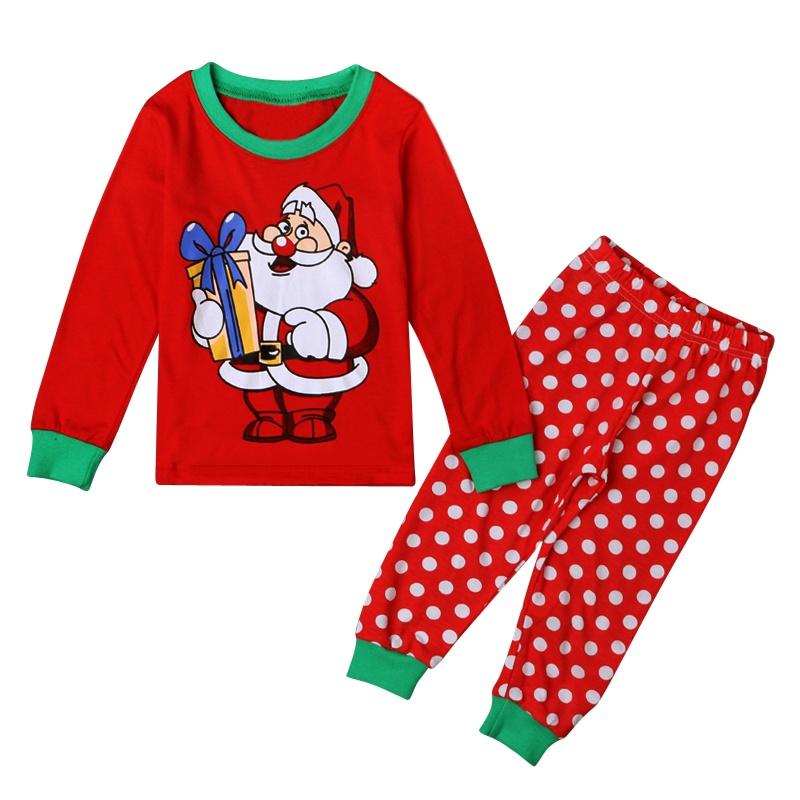 197be78d86e07 2-7 Ans Filles Bébé Tenue Enfants Vêtements de Noël Père Noël Imprimé 2PCS  Ensemble Pyjamas   Haut + Pantalons à Pois Produit  Vêtements pour ...