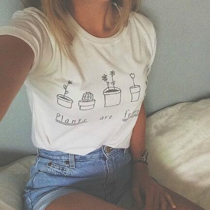 Picture of Summer Women Plants Are Friends Pattern Short Sleeve T-shirt