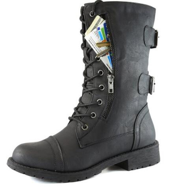Picture of Women's Military Combat Lace Up Mid Calf High Credit Card Knife Money Wallet Pocket Boots