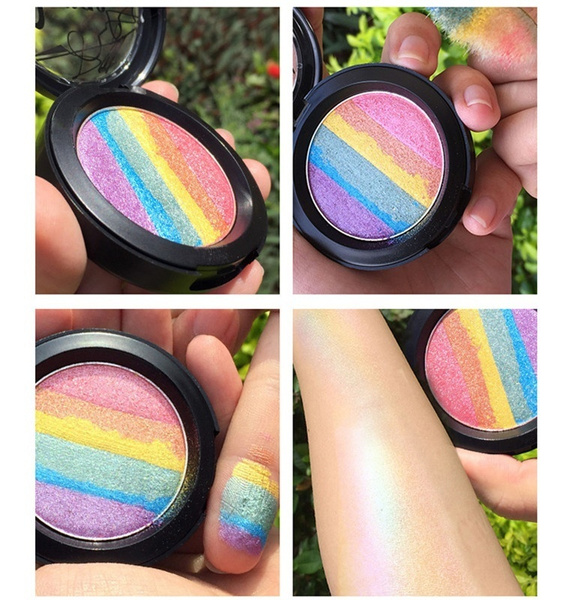 Magic Rainbow Highlighter Makeup 6 Colors Irregular Palette Bitter Lace Beauty Blush Highlighter Powder