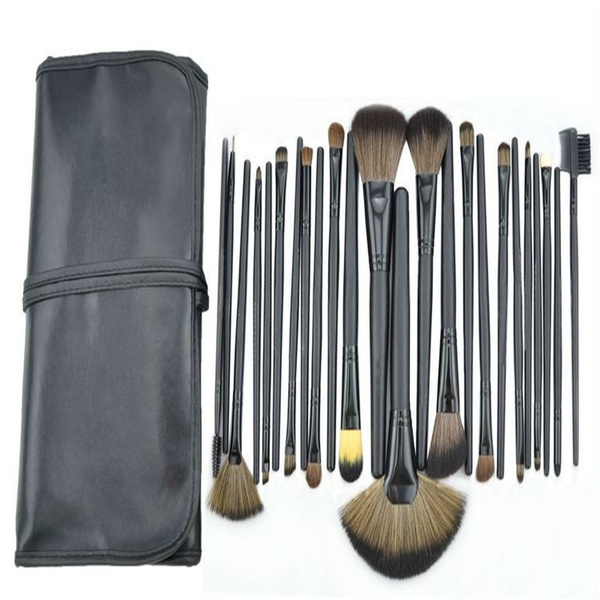 New Professional 24pcs Makeup Brush Set Make-up Toiletry Kit Wool Brand Cosmetic Make Up Brush Set + Leather Case