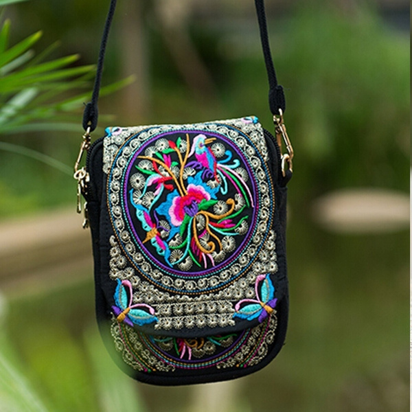 Picture of Boho Ethnic Embroidery Bag Vintage Canvas Cover Shoulder Messenger Bags Hmong Handmade Multicolor Small Coins Bags