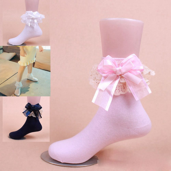 Sweet Ankle Baby Girls Lace Frilly Ruffle Princess Socks Cotton Big Bow Toddler Socks