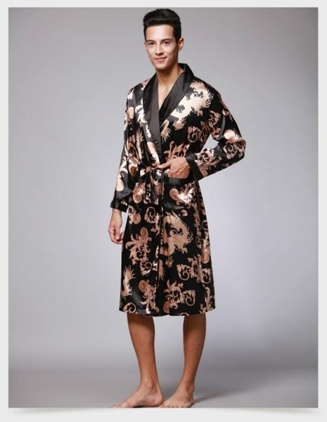 Wish | New Autumn Spring Men Bathrobe Kimono Robes V-neck Silk Male ...