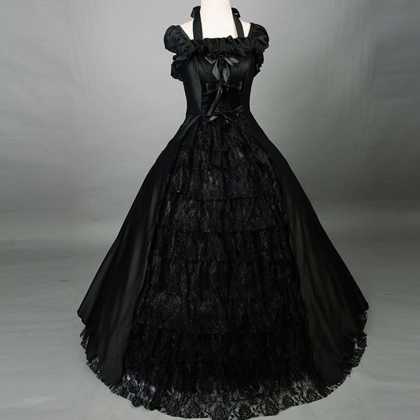 Vintage Black Lace Ball Gown Gothic Wedding Dresses Plus Size Bridal Gown  Custom