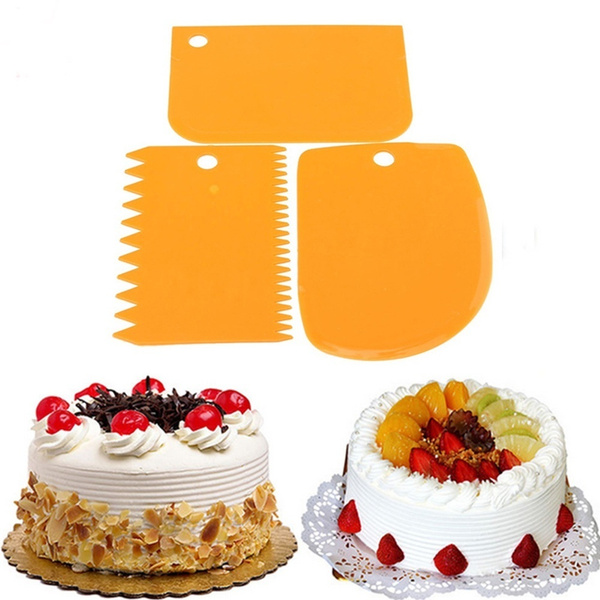 3 Pcs/Set Useful Plastic Dough Icing Fondant Scraper Cake Decorating Baking Pastry Tools Plain Smooth Jagged Edge Spatulas Cutters