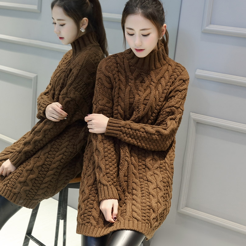 Women Turtleneck Sweater Jumper Chunky Cable Knit Long ...