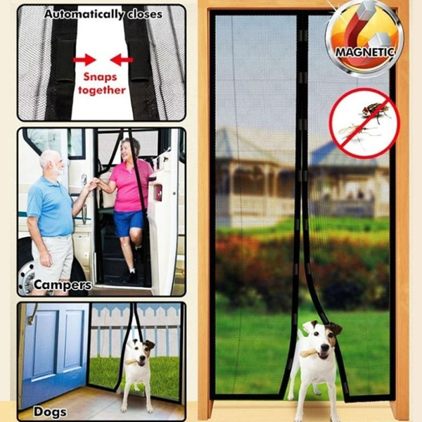 Premium Magnetic Screen Door - KEEP BUGS OUT Lets Fresh Air In  No More  Mosquitos or Flying Insects  Instant Bug Mesh with Top-to-Bottom Seal,  Snaps
