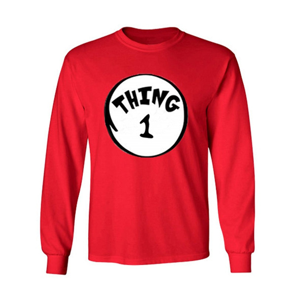 4de2d1031a99 Dr. Seuss Thing 1 and Thing 2 Adult Long Sleeve Cwer Neck T Shirt ...