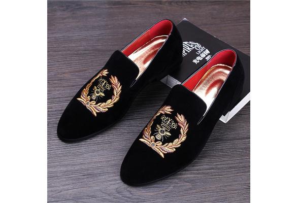 folk-custom men Korean fashion wedding party soft leather velvet shoes slip-on driving shoe design smoking slippers male loafers