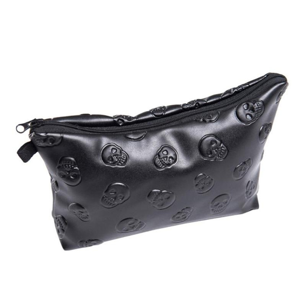 Picture of Travel Toiletry Makeup Bag Organizer Black Skull Leather Cosmetic Wash Bag Clutch Purse Makeup Color Black