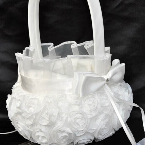Picture of Romantic Rose Bowknot Satin Wedding Ceremony Party Flower Girl Basket White