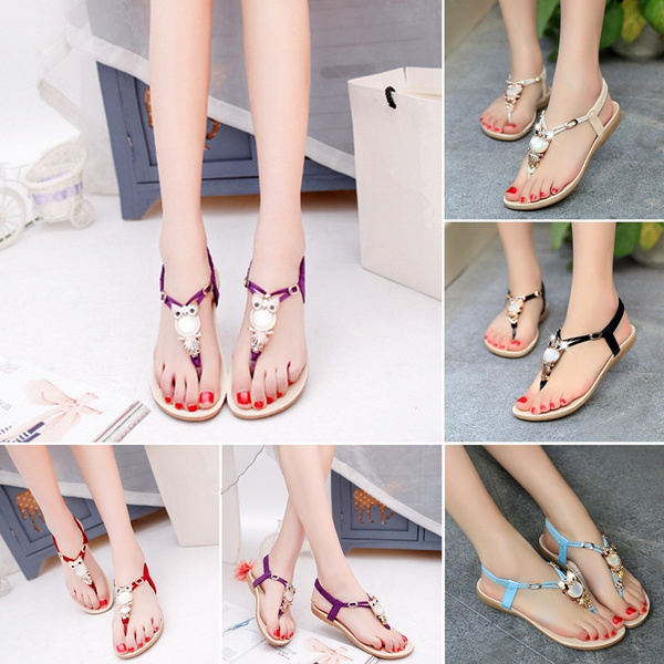 Picture of Women Flat Gladiator Sandal Shoes Girls Beach Owl Beaded Sandals Flip Flop Thong Sandals Sneakers