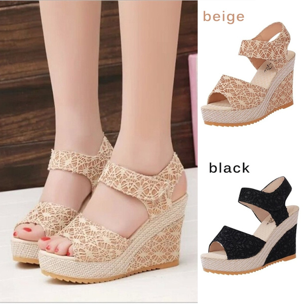 Picture of Summer New Open Toe Fish Head Fashion High Heels Wedge Sandals