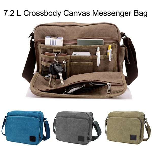 7 2 L Letter Embellishment Dual Purposes Shoulder Crossbody Canvas Messenger Bag For Men Women