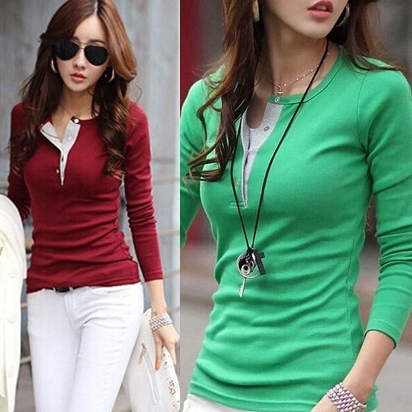 Picture of Fashion Ladies Slim Tops Long Sleeve Tee Shirt Casual Blouse