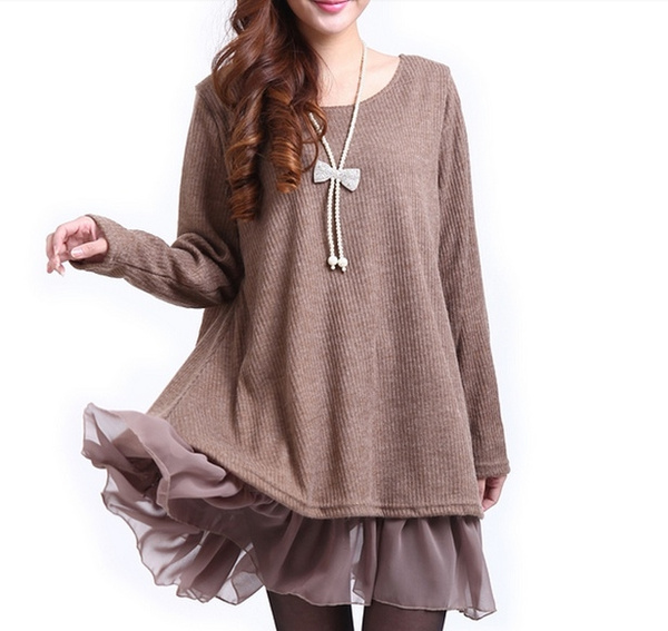 Plus Size, sweater dress, Winter, Casual sweater