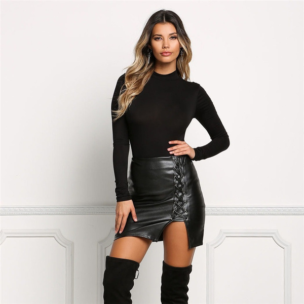top-rated authentic new collection modern techniques Women's Hot Handsome Black Leather Cross Belts Skintight PU Leather  Skirt-SUMMER BEAUTY