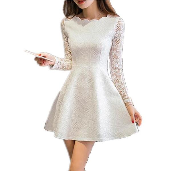 Spring Summer Autumn Women Lace Casual Dress Long Sleeve Korean Party Dresses Vestido White Black Pink Mini Dress Robe Dentelle