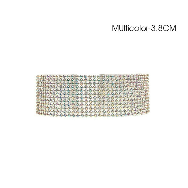 Women New Fashion Full Diamond Crystal Rhinestone Choker Collar Chain Necklace Luxury Wedding Jewelry