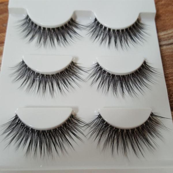 Picture of Sexy Design Handmade 3d Mink Hair Fake Eye Lashes Eyelash Fashion Popular Beauty Thick Long False Mink Eyelashes Makeup Tools Color Black