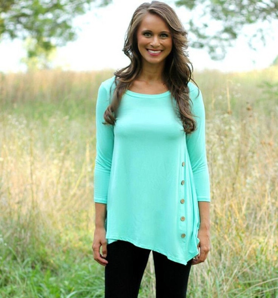 Women's Fashion Solid Color O-neck Long-sleeved Shirt Loose Leisure T-shirt Tops Blouses Plus Size XS-6XL