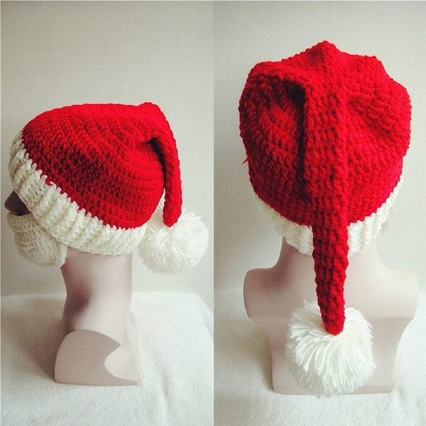 Wish Unisex Adult Christmas Knitted Crochet Beanie Santa Hat