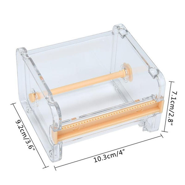 Desktop Tape Dispenser Tape Cutter Washi Tape Dispenser Roll Tape Holder,Transparent (Size: 1pcs)