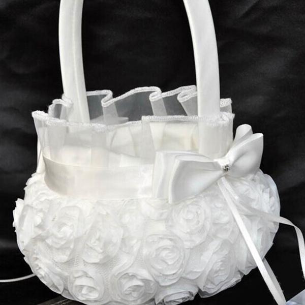 Wish white flower basket flower girl basket wedding ceremony party mightylinksfo