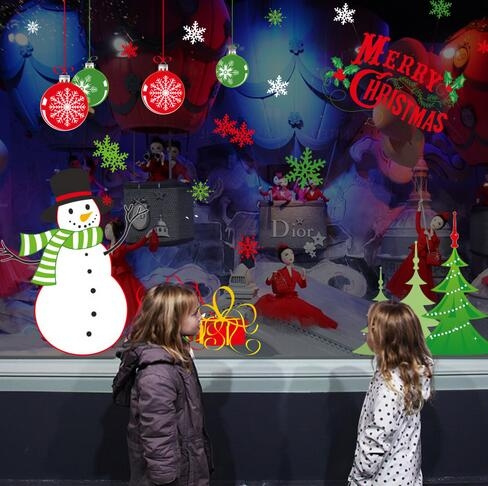 Christmas Window Decals.New Christmas Window Clings Decals Pvc Electrostatic Paste Christmas Window Decorations