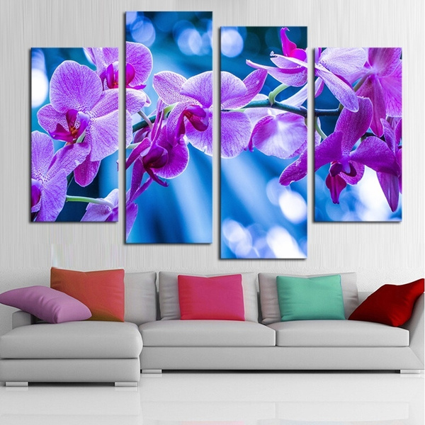 Wish | Unframed 4 Pcs Dreamy Purple Flower Wall Art Picture Home ...