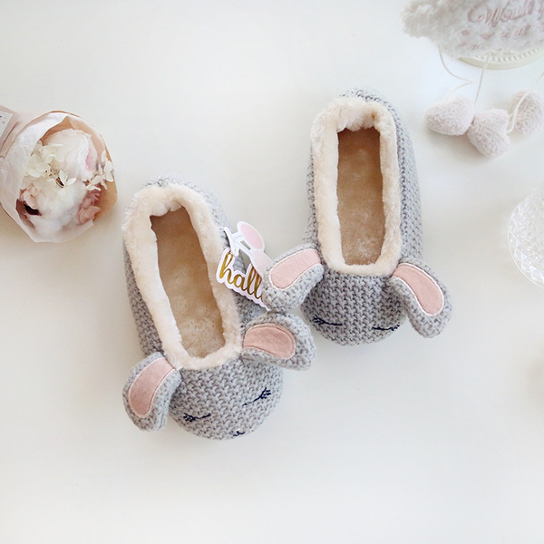 be3c32eb1 16 Nouveaux Lapin épaissir Velours Chaud Forfait Avec Chaussons Maison  Chaussure Hiver Enfant Chaud Chaussures Tricotage De Laine Intérieur ...