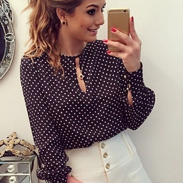 Picture of Round Neck Women Casual Long Sleeve Blouses Chiffon Polka Dots Shirt Tops