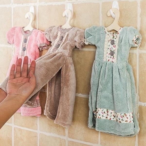 Picture of Fashion Home Use Creative Hand Towel Princess Dress Shape Bathroom Towel With Hanging Hook