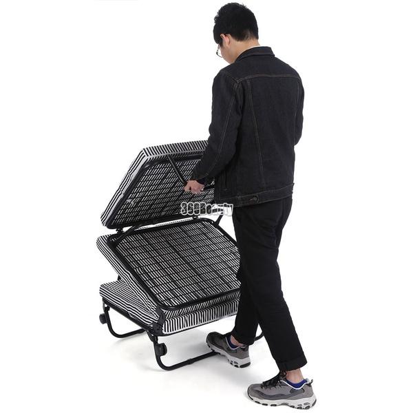 Wish Portable 78 Inch Tri Fold Foldable Metal Bed Foam Mattress