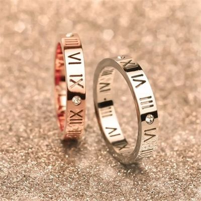 Picture of 1pc Roman Numeral Hollow Out Stainless Steel Cz Crystal Women Wedding Ring Ladies Gold/silver Plated Jewelry