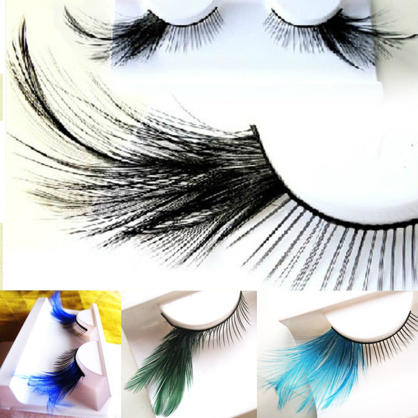 b38a4fe6904 1 Pair Women Girl Fancy Soft Long Feather False Eyelashes Eye Lashes ...