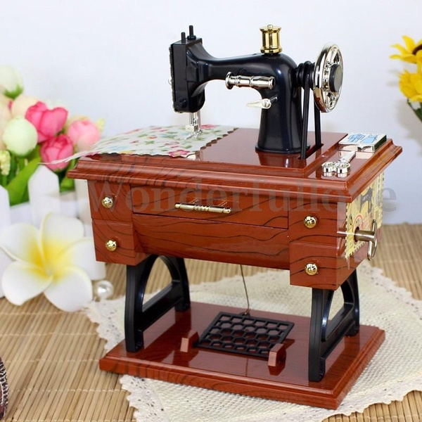 Picture of Treadle Sewing Machine Music Box Sartorius Toy Music Boxes Gift Musical Education Toys Home Decor Fashion Accessories