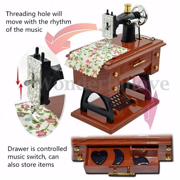 Wish Treadle Sewing Machine Music Box Sartorius Toy Music Boxes New Sewing Machine Music Box