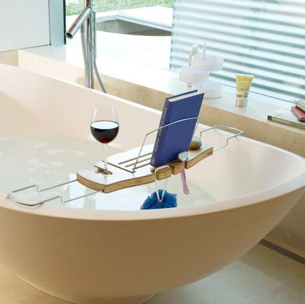 Wish | 1pc Bamboo Bath Caddy Tub Bathtub Wine Book Reading Stand ...