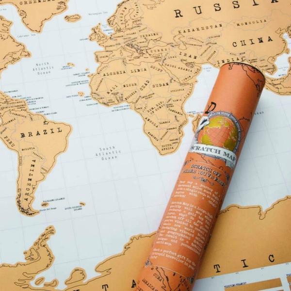 Carte Du Monde Map.Scratch Map Carte Du Monde A Gratter Marron Clair