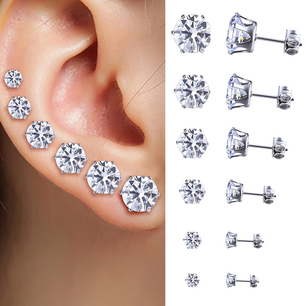 Picture of Fashion Women Mens Jewelry Stainless Steel Crystal Ear Studs Earrings Round Cubic Zircon 6pairs/set