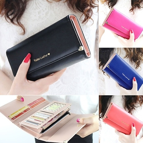 Picture of Women's Fashion Luxury Rivet Heart Leather Clutch Long Purse Card Coin Wallet Handbag Bag Money Clip